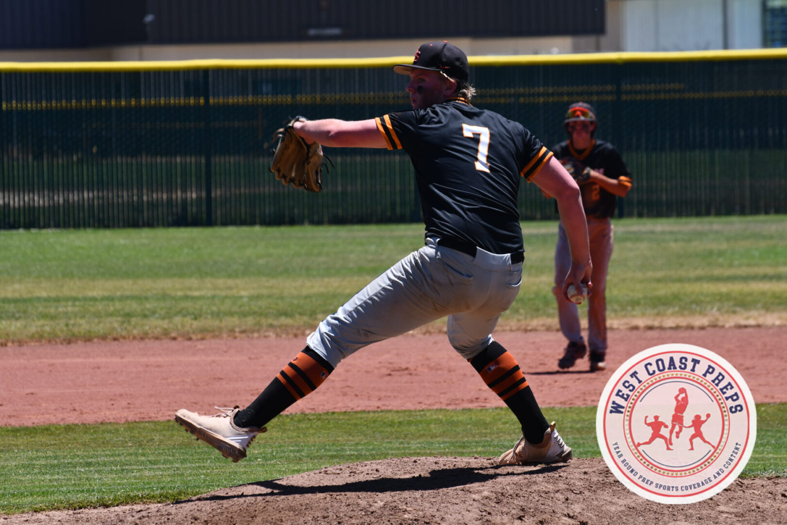 Tommy Splaine throws a pitch in a Los Gatos CCS Open Division quarterfinals win on June 12, 2021. Chris Jackson / Staff Photo