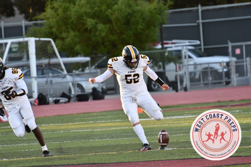 Gabriel Plascencia boots the opening kickoff in a Bishop O'Dowd win at San Leandro. Chris Jackson / Staff Photo